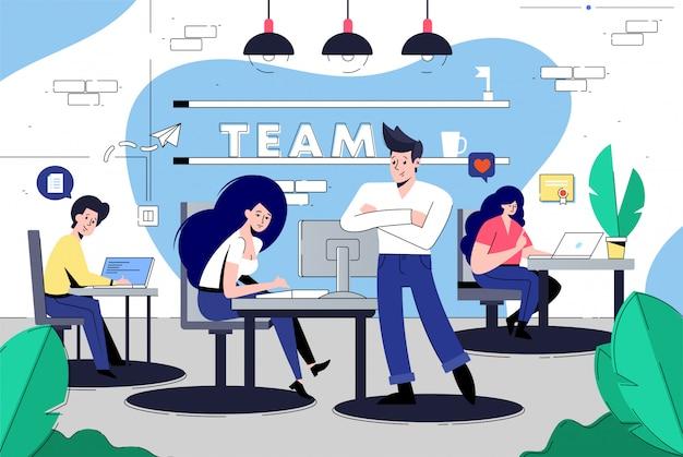 Spazio di coworking con persone creative
