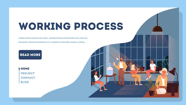 Spazio di coworking. gli uomini d'affari lavorano in squadra. lavoratori seduti alla scrivania. idea di comunicazione e collaborazione. illustrazione, concetto di banner web
