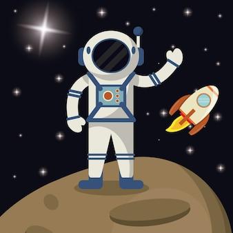 Spazio di esplorazione del razzo di astronauta