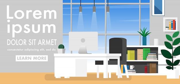 Spazio di lavoro interno in casa o casa ufficio con copia spazio per il testo