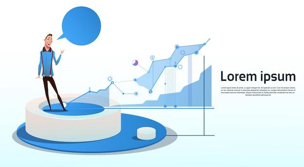 Spazio finanziario della copia del grafico di affari del grafico di finanza di visualization analysis dell'uomo d'affari