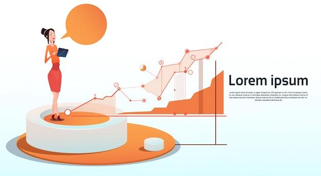 Spazio finanziario della copia del grafico di affari del grafico di finanza di visualization analysis della donna di affari
