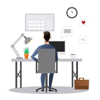Spazio, freelance, riunione, comunità, colleghi, internet, icona, web, aziendale, femmina, comunicazione, giovane, desktop, moderno, piatto, monitor, tecnologia, persone, posto di lavoro, seduta, lavoro, persona, des