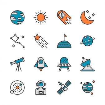 Spazio in colorline icon set design