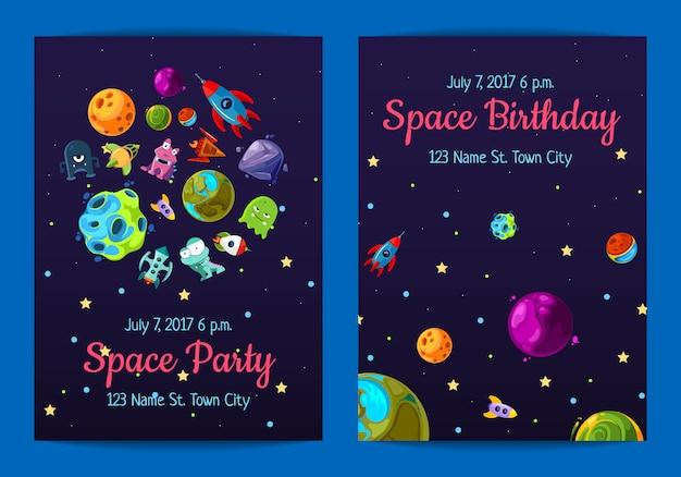 Spazio invito a una festa di compleanno con elementi spaziali, pianeti e navi