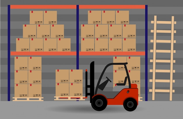 Spazio magazzino. carrello elevatore con scatole.