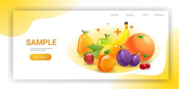 Spazio orizzontale della copia di vario concetto naturale sano fresco della composizione in frutti succosi