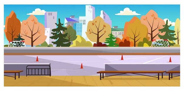 Spazio pattinaggio a rotelle con illustrazione di coni di traffico