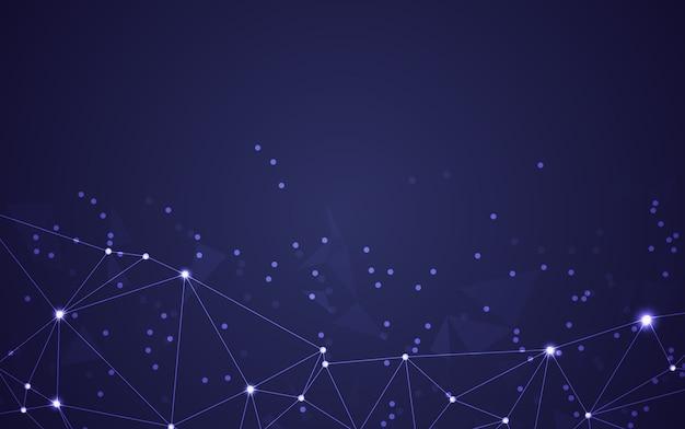 Spazio poligonale astratto basso poli sfondo scuro con punti e linee di collegamento. collegamento struttura.illustratore