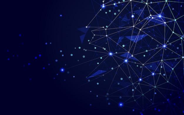 Spazio poligonale astratto sfondo blu poli basso con punti e linee di collegamento. collegamento struttura.illustratore