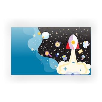 Spazio sfondo con stelle e materie scolastiche