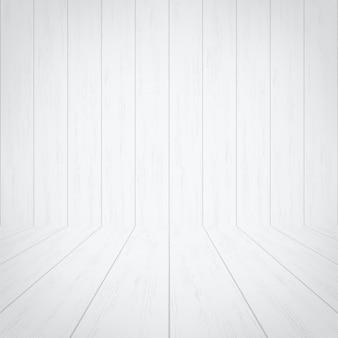 Spazio vuoto della stanza in legno bianco per lo sfondo.