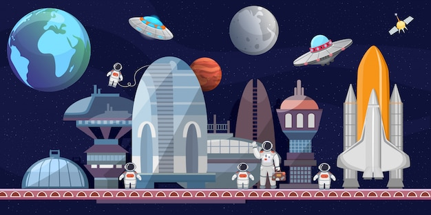 Spazioporto di futura illustrazione di cartone animato. astronavi, trampolino di lancio, astronauti, satelliti, pianeti. esplorazione dello spazio, voli spaziali commerciali.
