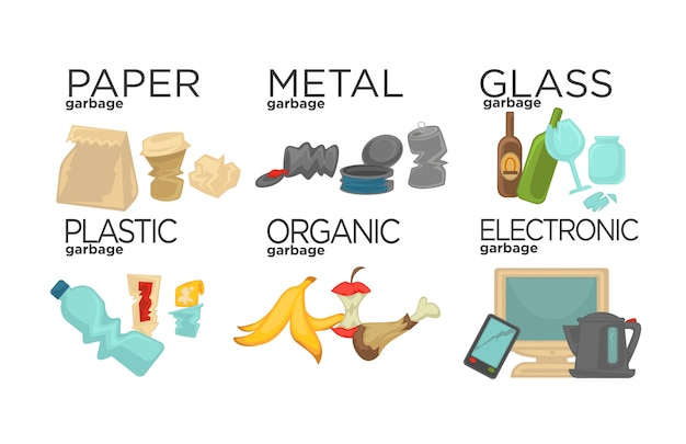 Spazzatura che ordina rifiuti alimentari, vetro, metallo e carta