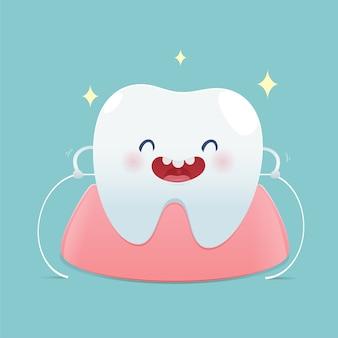 Spazzolare i denti flossing, filo interdentale, illustrazione e disegno vettoriale