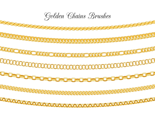 Spazzole di catene dorate isolate