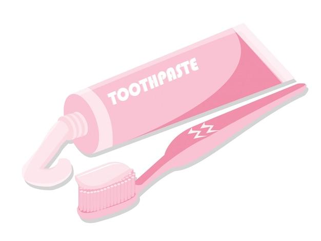 Spazzolino da denti di concetto di dentsl con dentifricio in pasta isolato su bianco