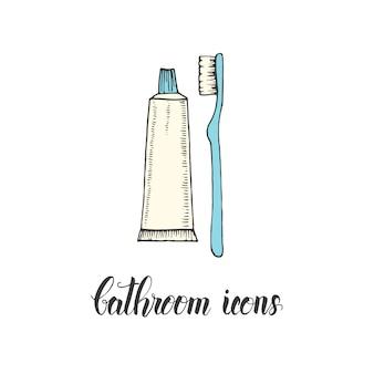 Spazzolino da denti e dentifricio disegnati a mano d'annata in uno stile di schizzo.