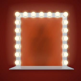 Specchio nella struttura delle lampadine con l'illustrazione di vettore della tavola di trucco