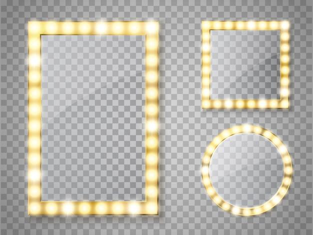Specchio per il trucco isolato con luci dorate. cornici quadrate e rotonde