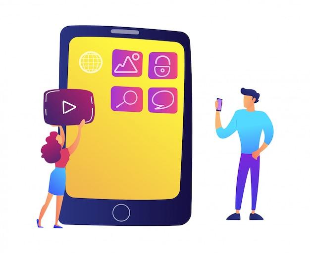 Specialisti it che creano applicazioni mobili sull'illustrazione di vettore dello schermo dello smartphone.