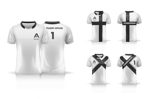 Specifica modello da calcio, modello esport gaming t shirt jersey. set da collezione uniforme. illustrazione