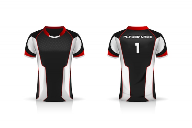 Specifica modello da calcio, modello esport gaming t shirt jersey. uniforme. illustrazione