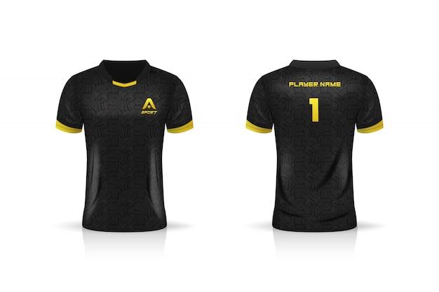 Specifica modello da calcio, modello esport gaming t shirt jersey. uniforme. illustrazione