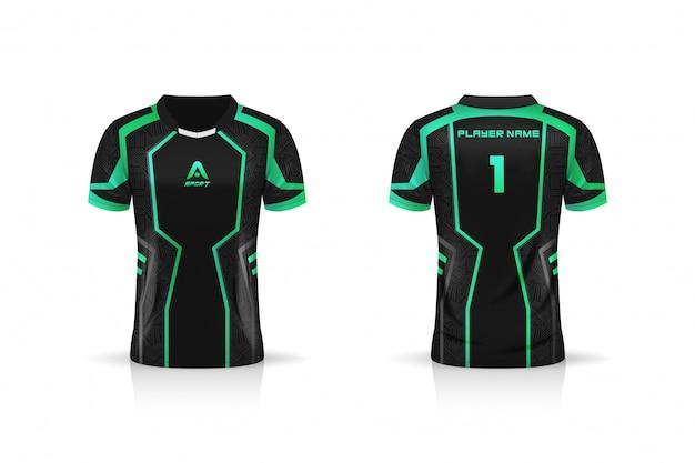 Specifica modello da calcio, modello esport gaming t shirt jersey. uniforme mock up. disegno di illustrazione vettoriale