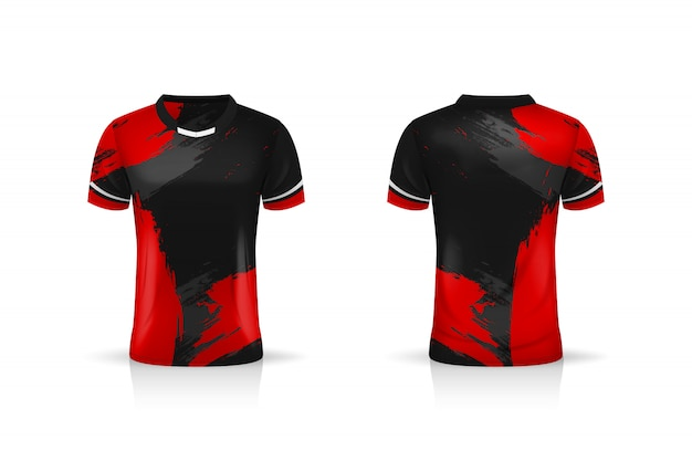 Specifica modello sport calcio, modello esport gaming t shirt jersey. uniforme. illustrazione