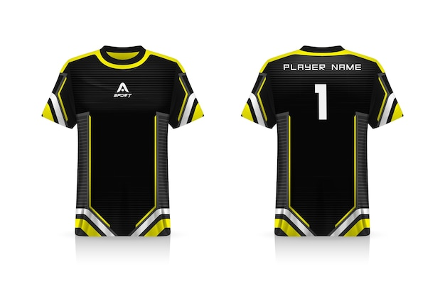 Specifica soccer sport, esports gaming t shirt jersey template. uniforme.