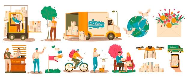 Spedisca il servizio di consegna, il corriere con il pacchetto e il postino con la lettera, illustrazione