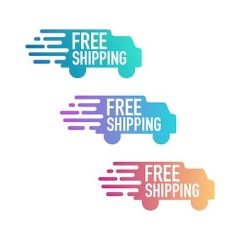 Spedizione gratuita. tag con icona di camion.