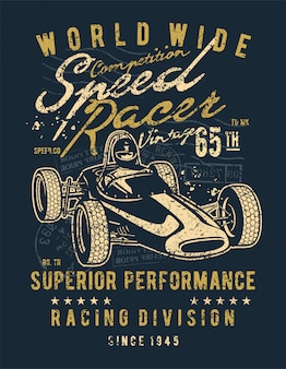 Speed racer vintage design illustrazione