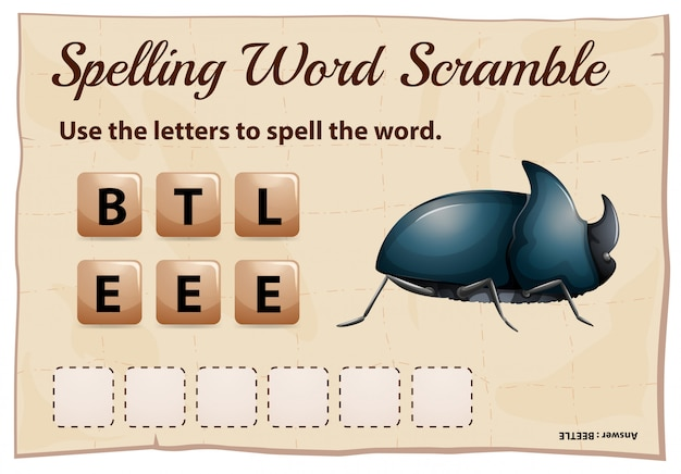 Spelling word scramble for word beetle
