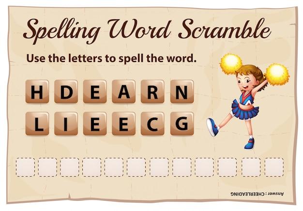 Spelling word scramble for word cheerleading