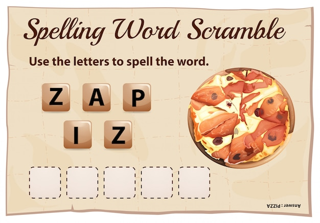 Spelling word scramble for word pizza