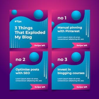 Spendere i miei consigli sul blog sul set di post di instagram