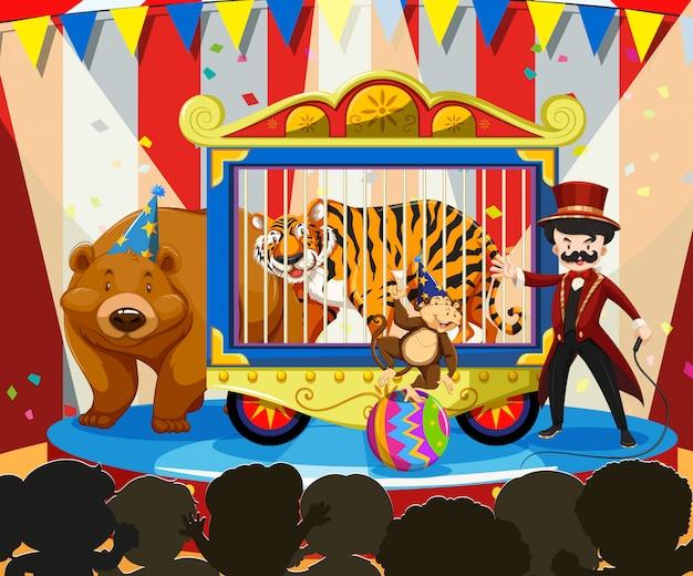 Spettacolo di animali al carnevale