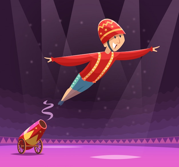 Spettacolo di cannoni al circo. pistola di tiro sul pagliaccio esecutore cirque arena sul palco dei cartoni animati