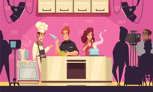 Spettacolo di cucina in tv contest composizione di cartoni animati con i partecipanti che ospitano operatori di macchine fotografiche per chef di insalata di soia