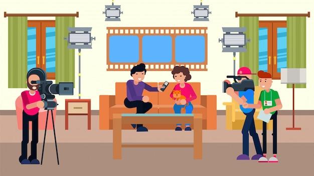 Spettacolo televisivo con il concetto della macchina fotografica, illustrazione. personaggio giornalista con ospite cartone animato in studio, trasmissione televisiva.