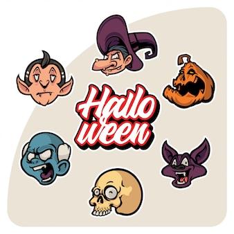 Spettrale raccolta di adesivi di halloween testa di personaggio dei cartoni animati insieme di vettore