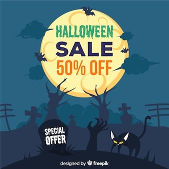 Spettrale sfondo di vendita di halloween