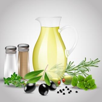 Spezie ed erbe aromatiche con una bottiglia di olio di vetro