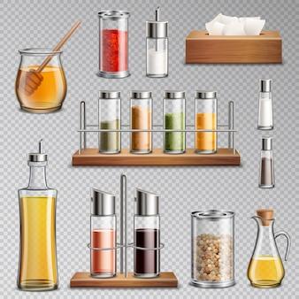 Spezie per condimenti set realistico trasparente
