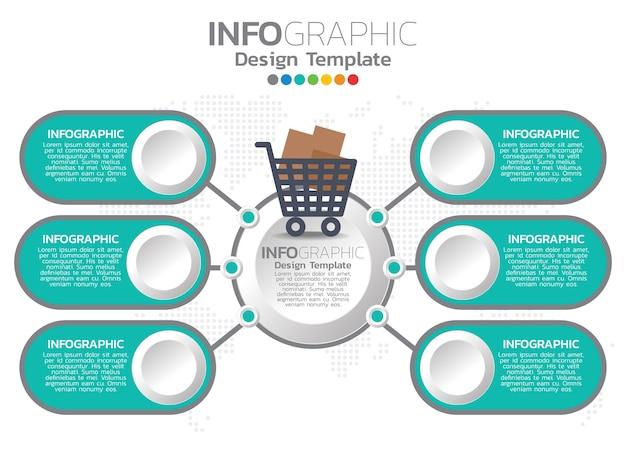 Sphopping design modello infografica con 6 opzioni di colore.