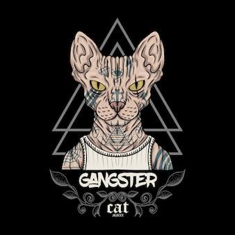 Sphynx cat gangster illustration