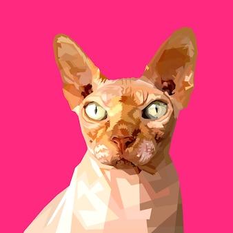Sphynx cat su stile triangolo geometrico poligonale