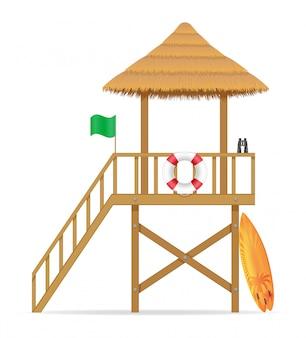 Spiaggia bagnino torre per salvare le persone che stanno annegando